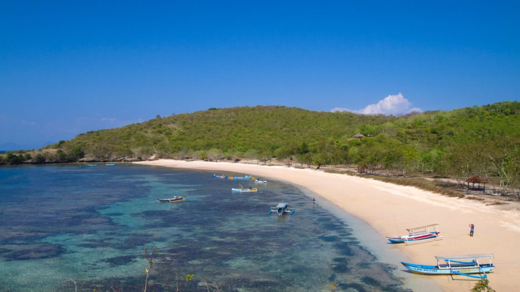 View at the Pink Beach during low tide, Lombok, Indonesia