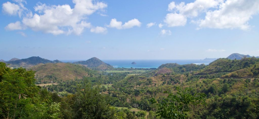 Panorama view over Selong Belanak and the surrounding area, Lombok