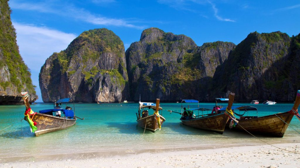 The famous Maya Bay on Koh Phi Phi Leh in Thailand