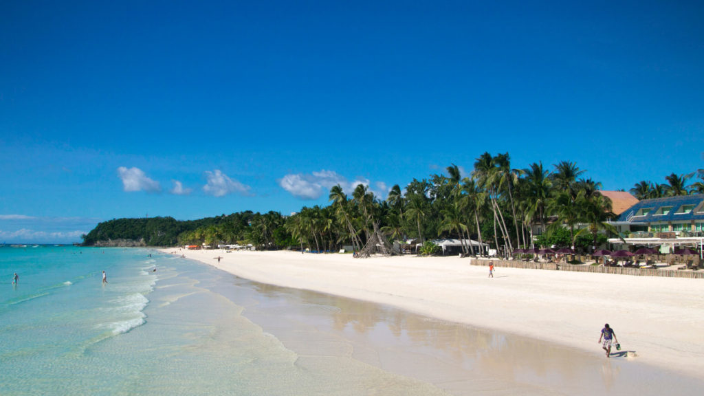View of White Beach (Station 1) on Boracay, Philippines