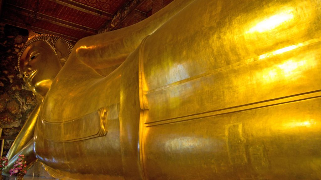 The Reclining Buddha in the Wat Pho in Bangkok