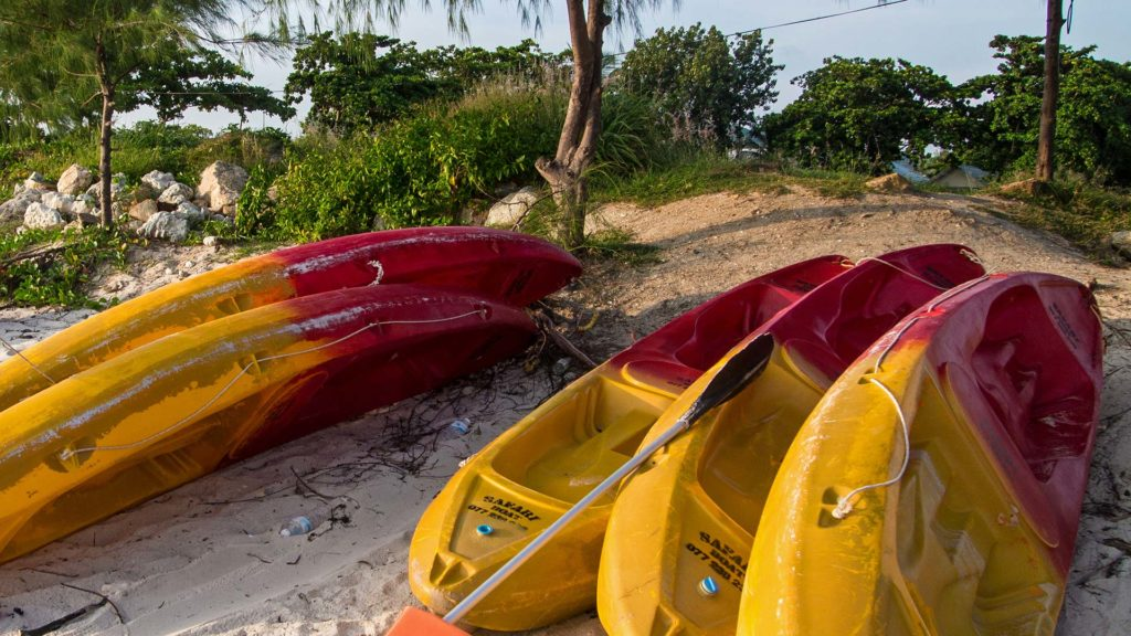 Kayaks on the beach of Thong Sala on Koh Phangan