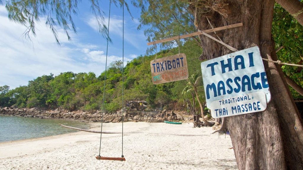 Sign of a traditional Thai massage on Koh Phangan