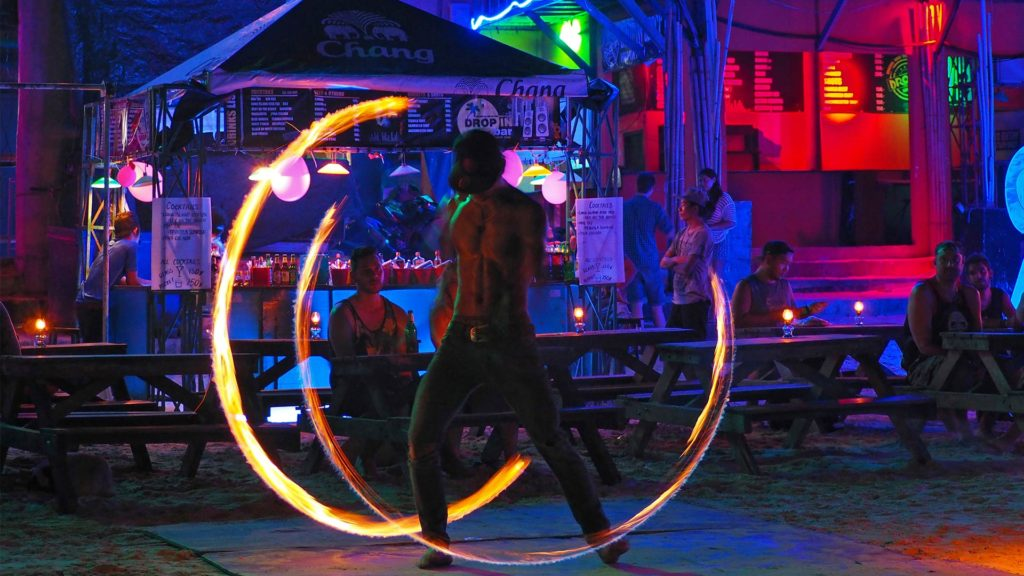 Fire show at the Drop In Bar on Haad Rin Beach