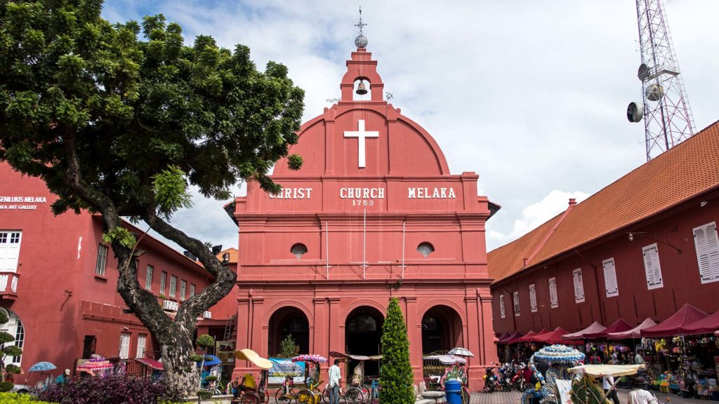 Die Christ Church am roten Platz von Melaka