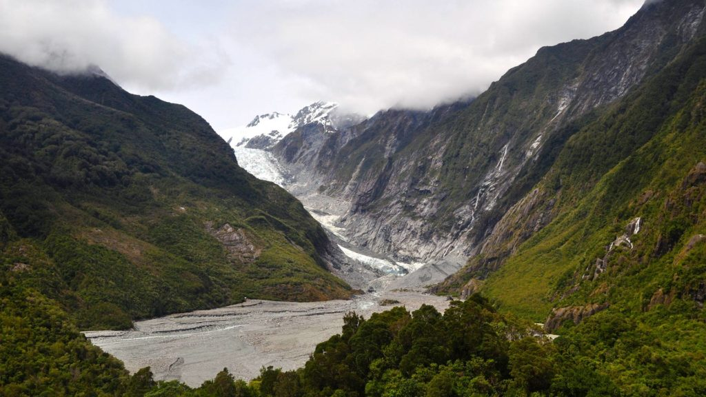 View of the Franz Josef Glacier in New Zealand