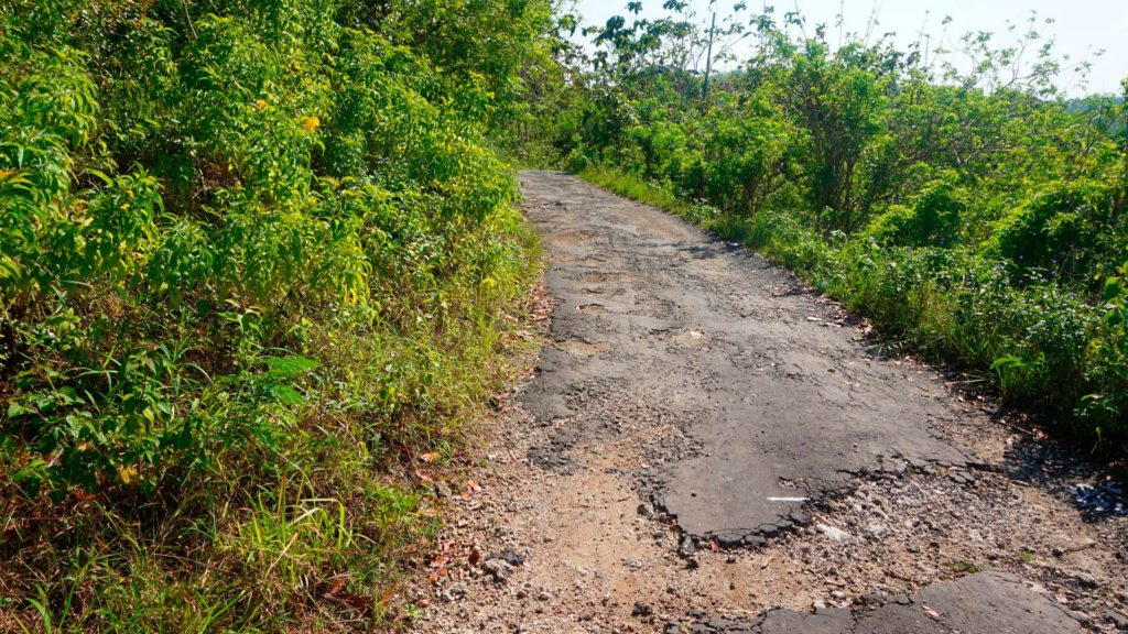 Bad road on Nusa Penida in Indonesia