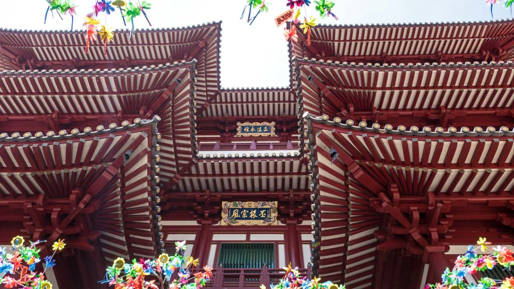 The inside of the Buddha Tooth Relic Temple