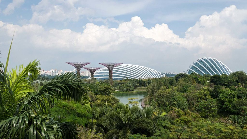 Die Supertrees, der Flower Dome und Cloud Forest im Gardens By The Bay von Singapur