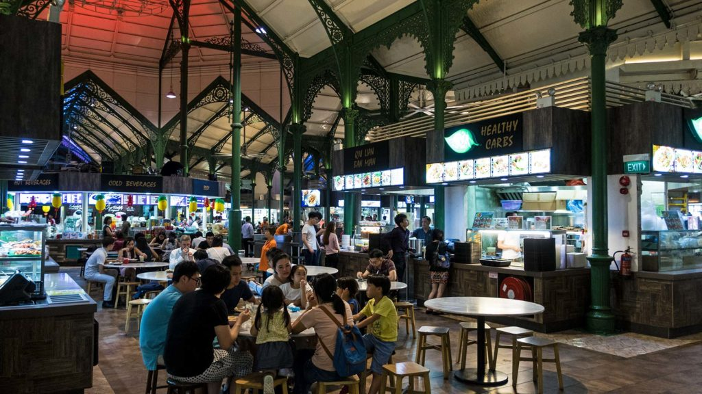 Inside the Lau Pa Sat Hawker Centre of Singapore