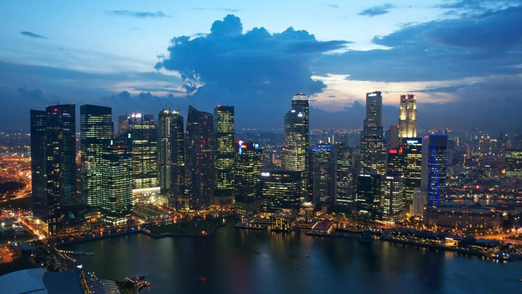 The view from the roof of the Marina Bay Sands at the skyline of Singapore