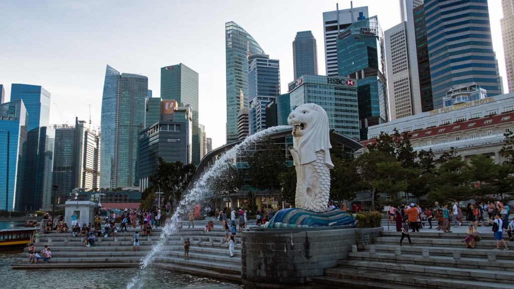 The Merlion, one of the landmarks of Singapore