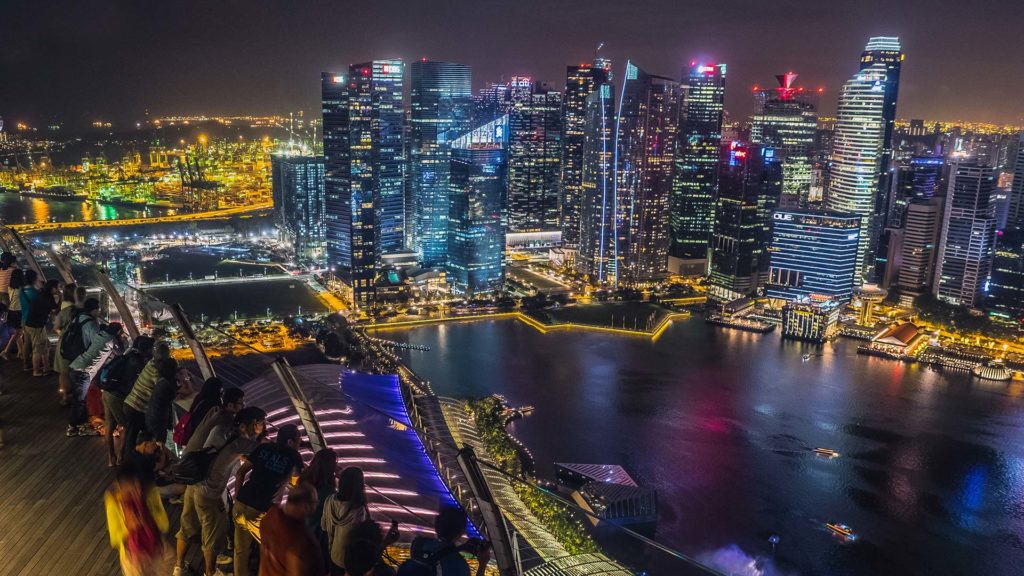 The view from the Marina Bay Sands at the Singapore skyline by night