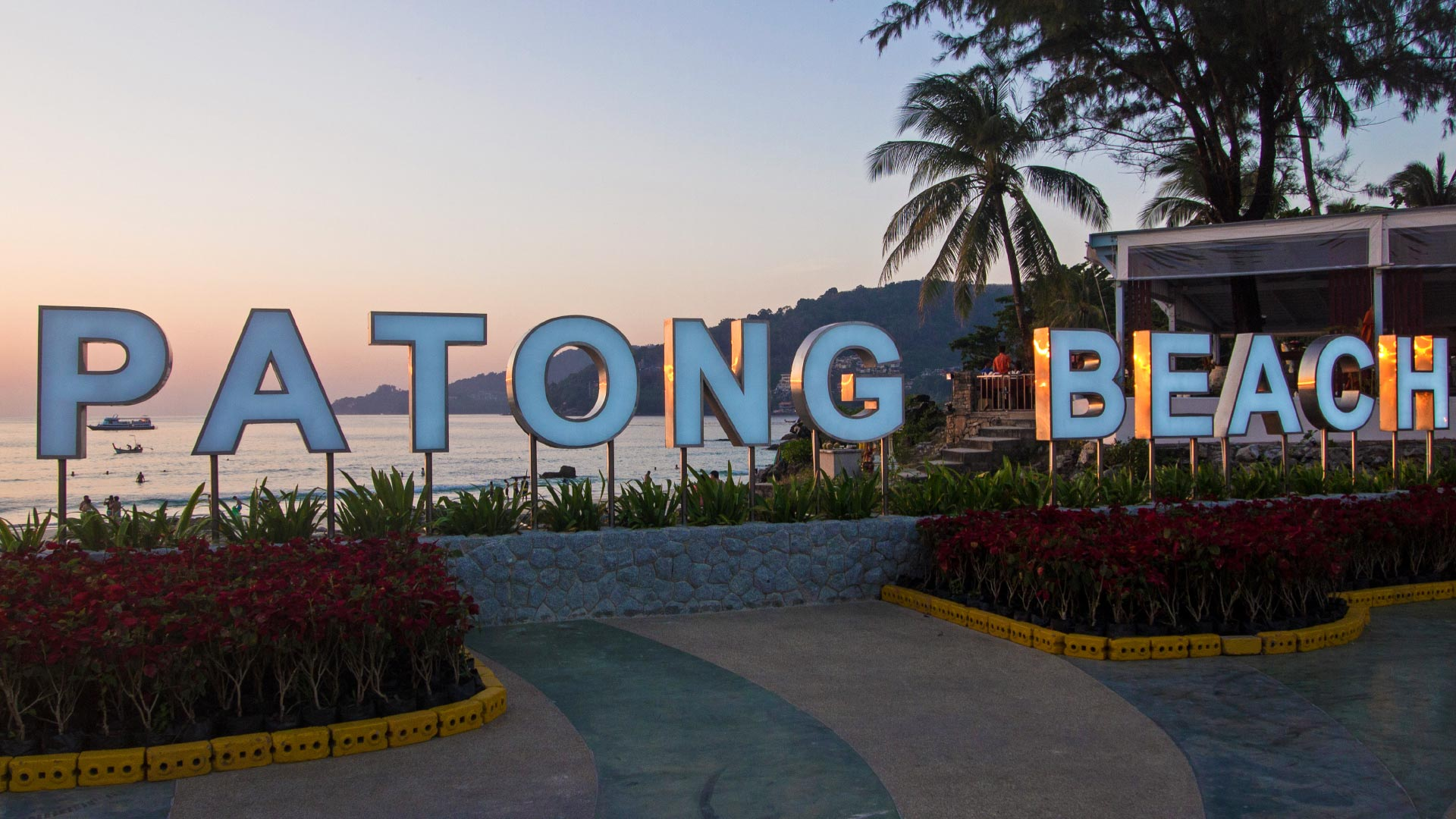 Patong Beach sign at the beach