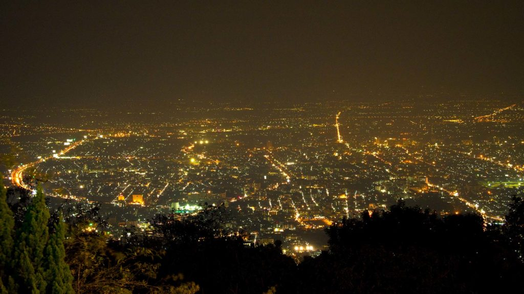 View from the Wat Phra That Doi Suthep at Chiang Mai by night