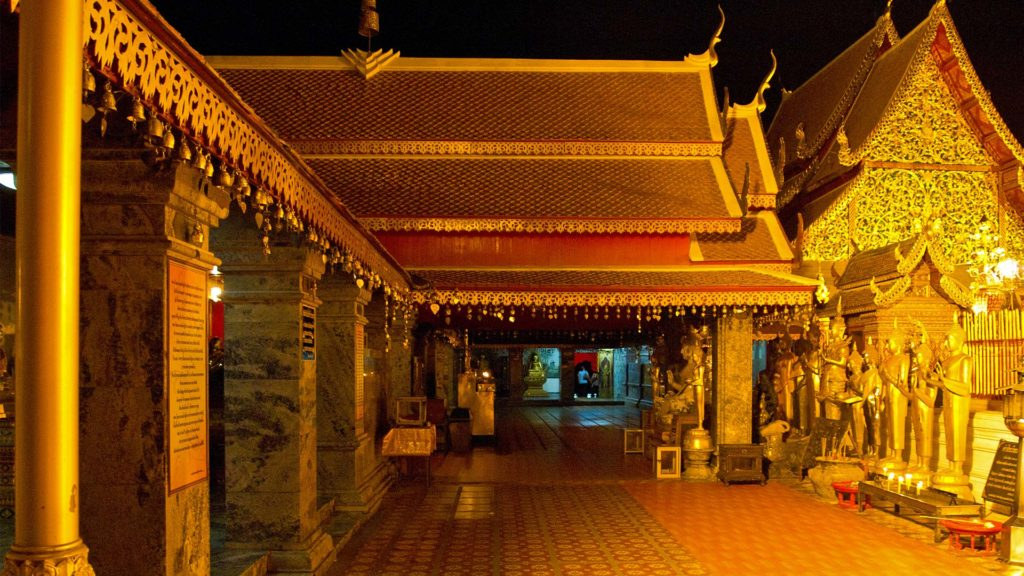 Courtyard of Wat Phra That Doi Suthep at night