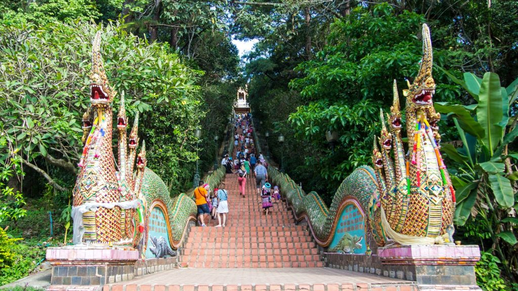 The huge Naga stairs to the Wat Phra That Doi Suthep in Chiang Mai