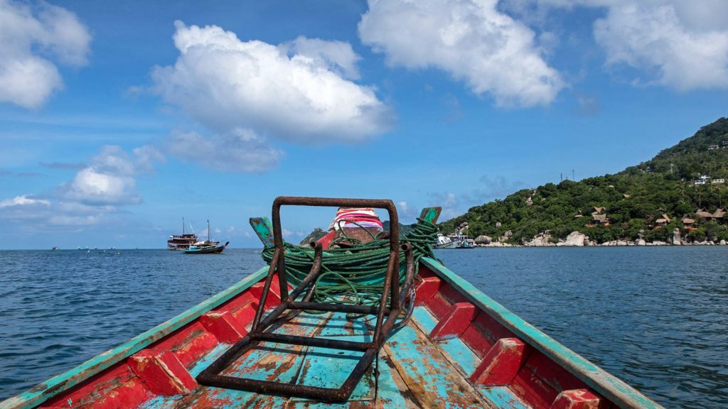 The ride with the longtail boat from Koh Tao to Koh Nang Yuan