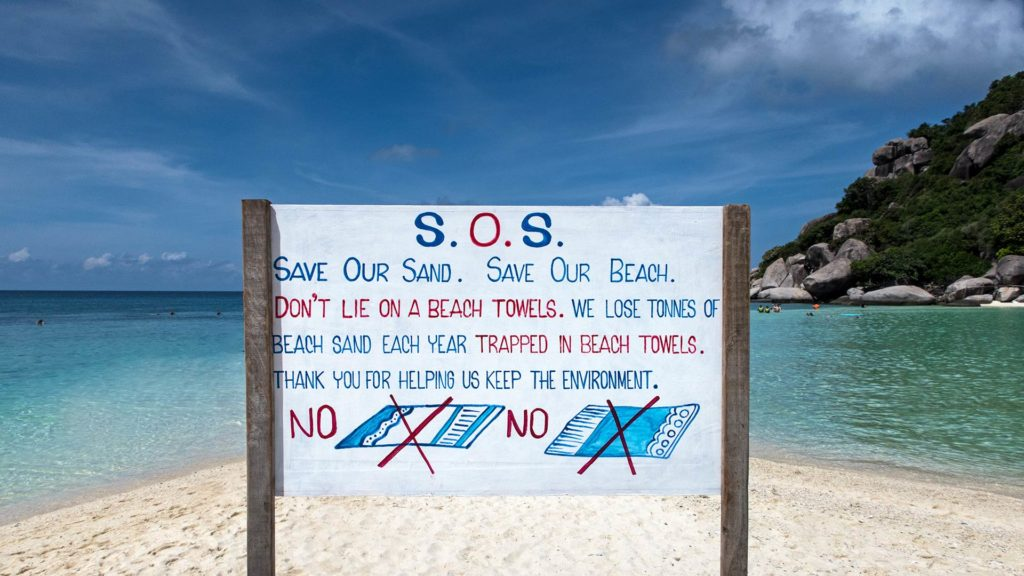 Save our sand, beach towels are not welcome on Koh Nang Yuan