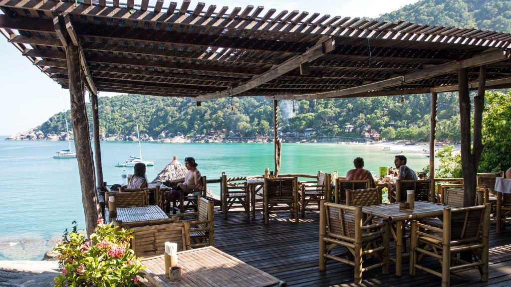 The Bamboo Hut Restaurant with a view at the Haad Yuan, Koh Phangan