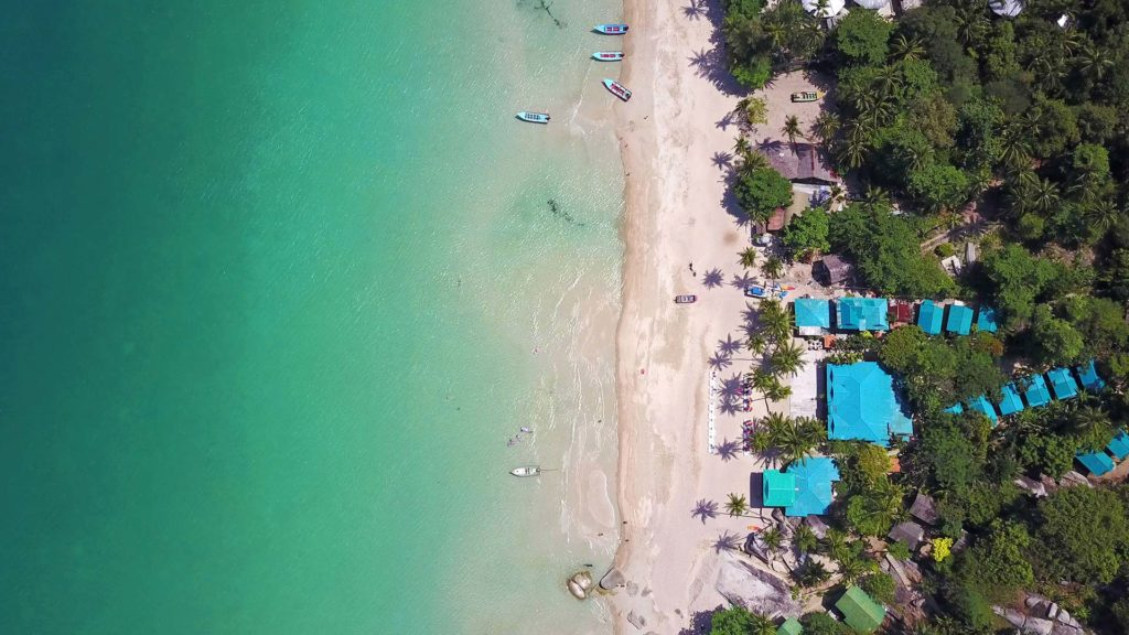Koh Phangan's beautiful beach Haad Yuan from the air