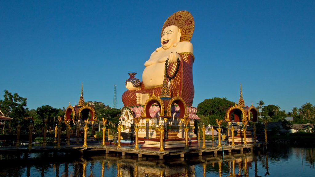 The fat Buddha in the Wat Plai Laem on Koh Samui