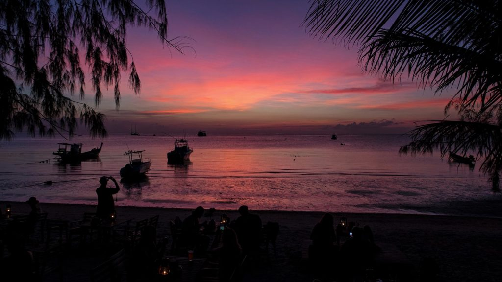 The sunset at Sairee Beach on Koh Tao