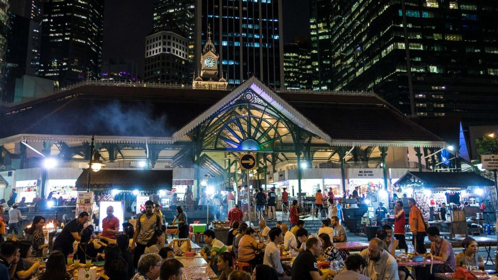 The Lau Pa Sat Hawker Center in downtown Singapore