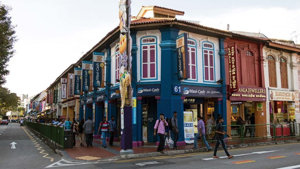 Facades of houses in Singapore's Little India
