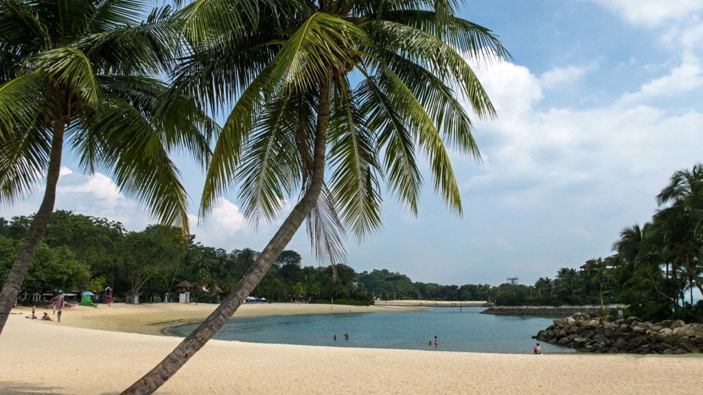 View of Palawan Beach on Sentosa Island in Singapore