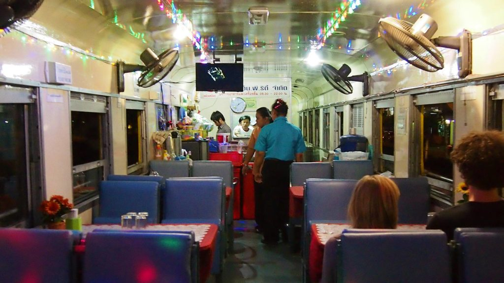 The party wagon of the night train from Bangkok to Chiang Mai
