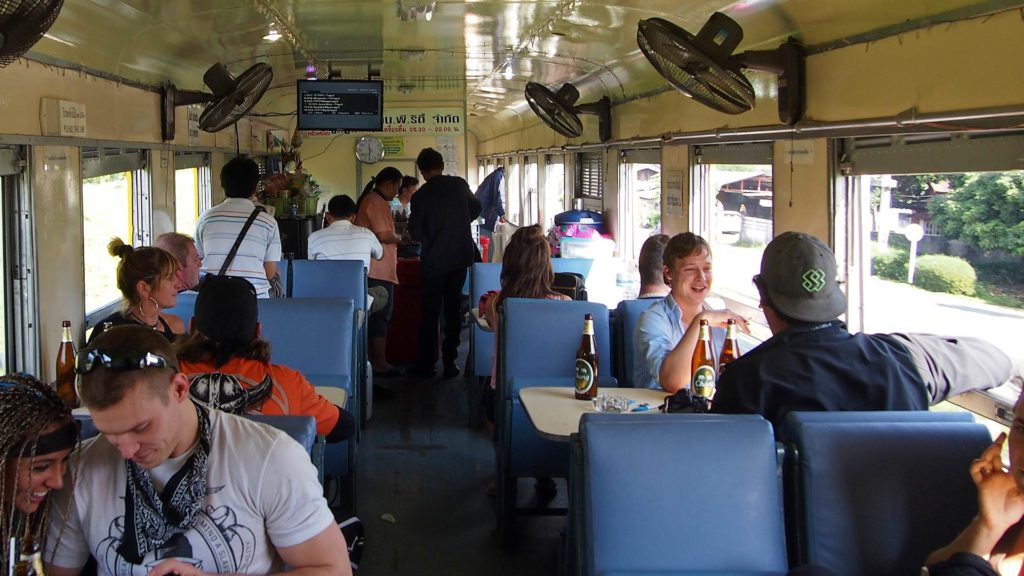 Guests in the dining car on the train from Bangkok to Chiang Mai
