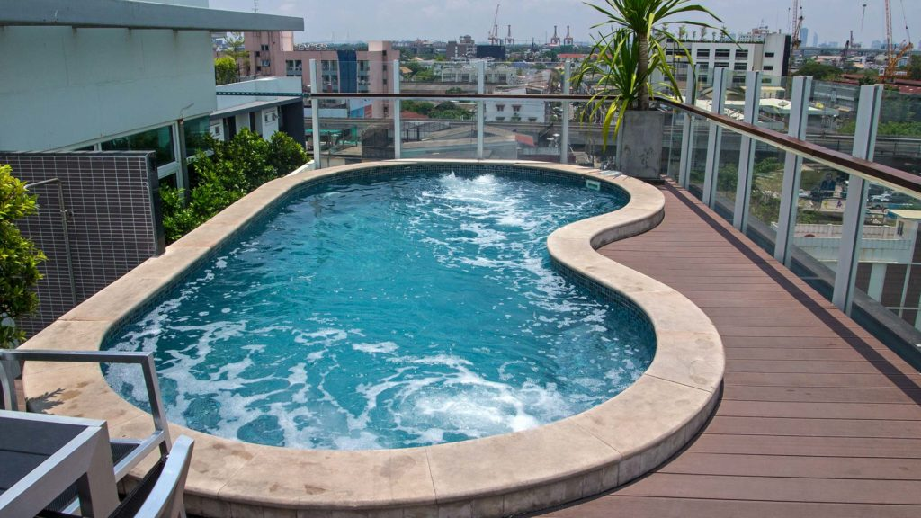 Swimming pool on the roof of the At Mind Executive Suites in Bangkok