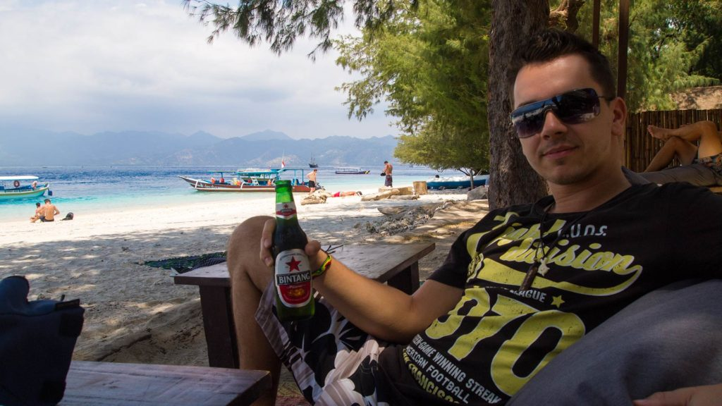 Marcel at the beach on Gili Trawangan