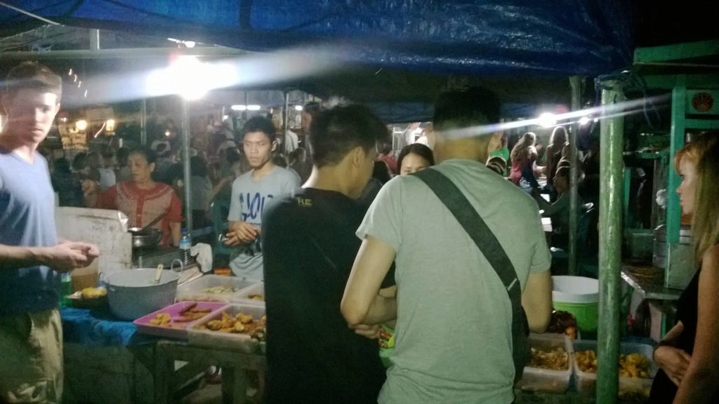 Nasi Campur stand at the night market of Gili Trawangan