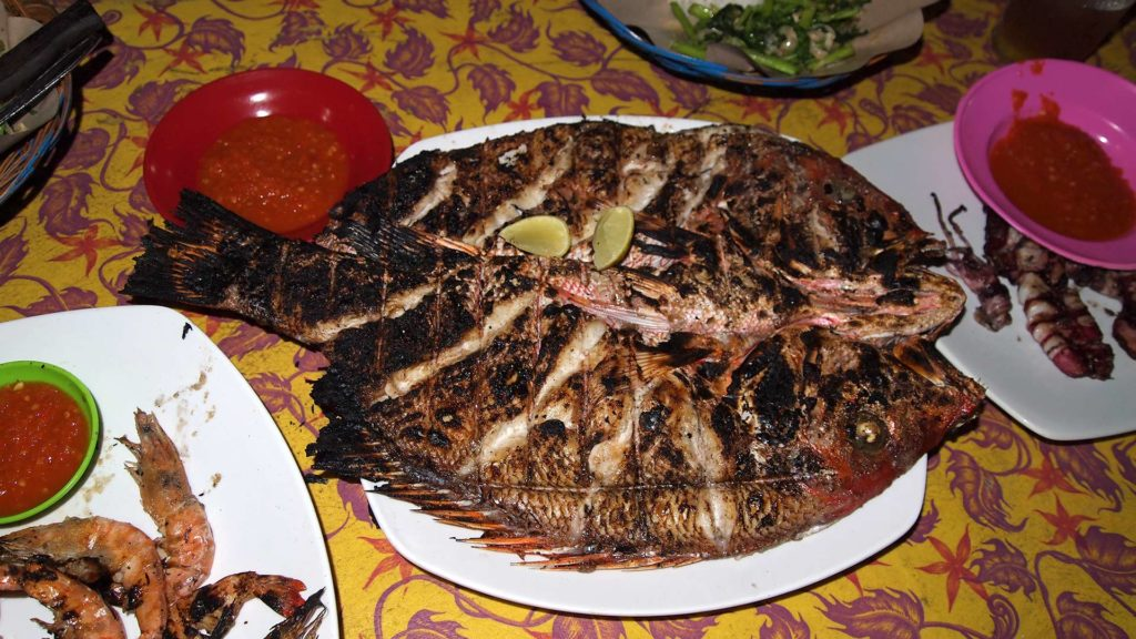 Fresh, grilled seafood at the night market of Gili Trawangan