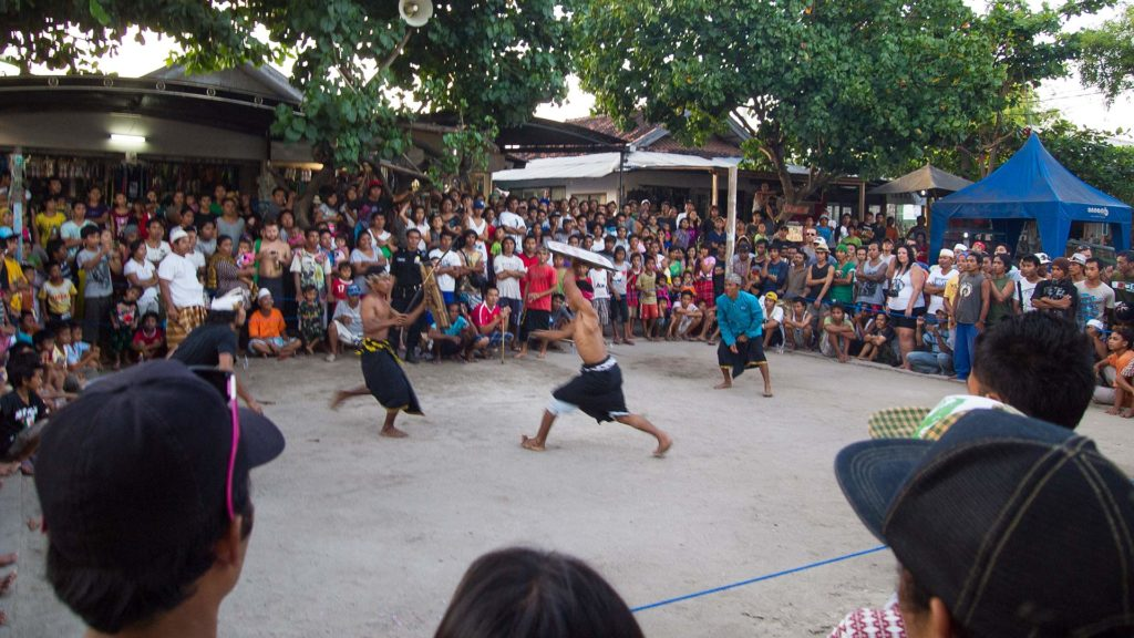 Stick Fight (Presean) on the market place of Gili Trawangan