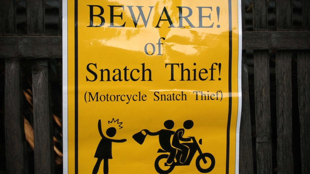 Snatch Thief Warnschild