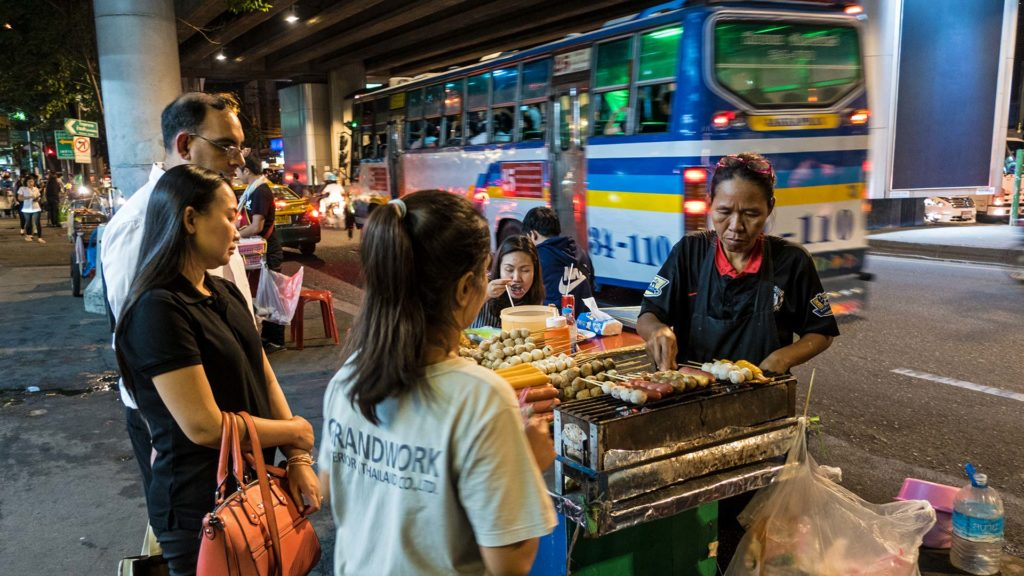 Street food in the district Sukhumvit in Bangkok