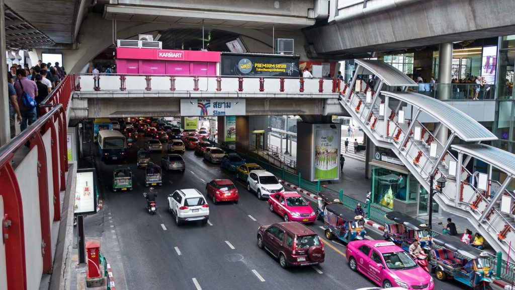Siam BTS with taxis, Tuk Tuks etc. in Bangkok