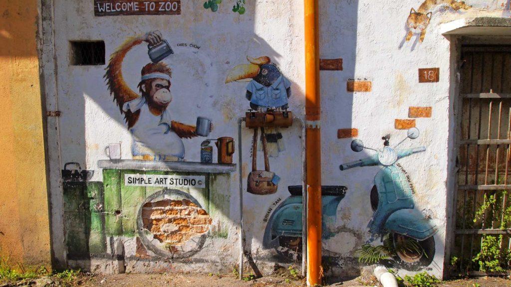Street Art in einer Seitengasse in Ipoh, Malaysia