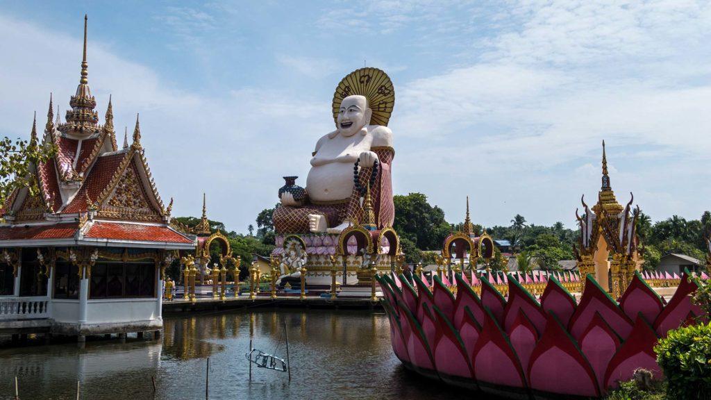 The fat Buddha inside the Wat Plai Laem, Koh Samui