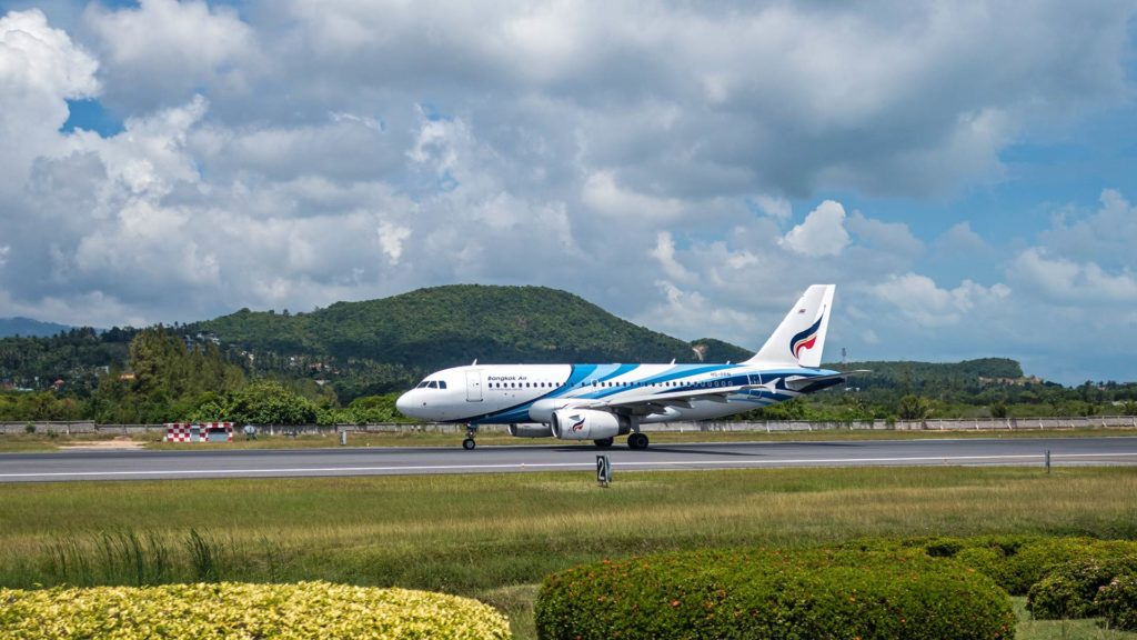 Airplane of Bangkok Airways at Koh Samui's airport