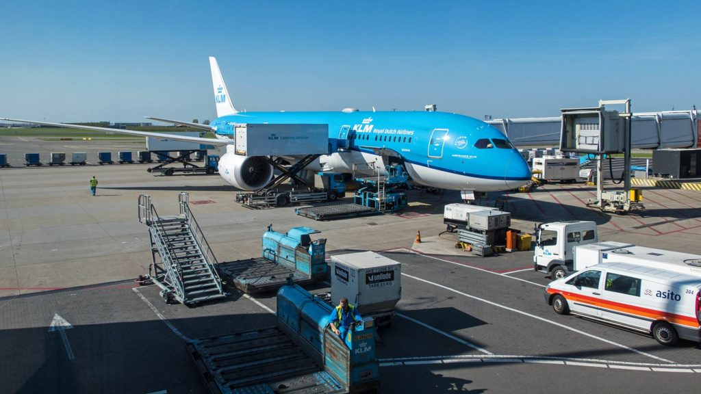 KLM airplane at the Amsterdam Schiphol Airport