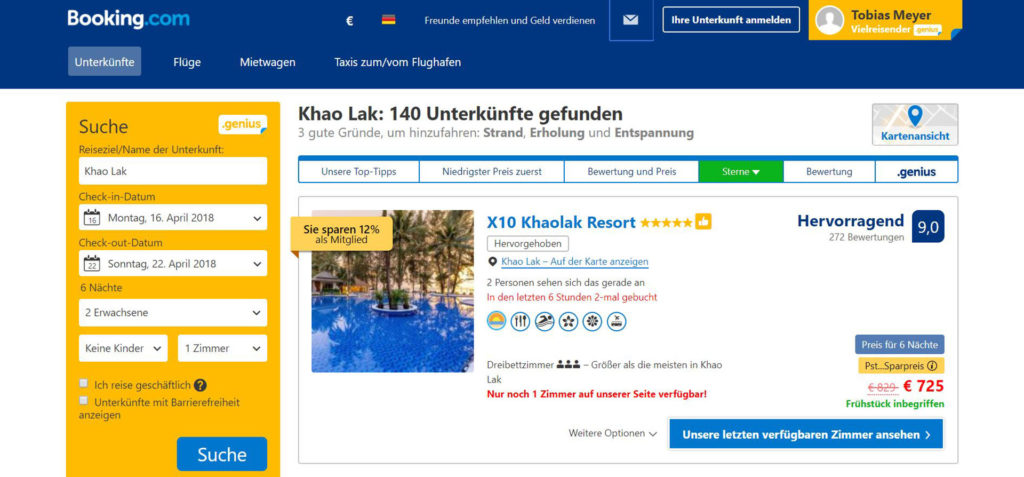 Booking.com Suche nach Hotels in Khao Lak, Thailand