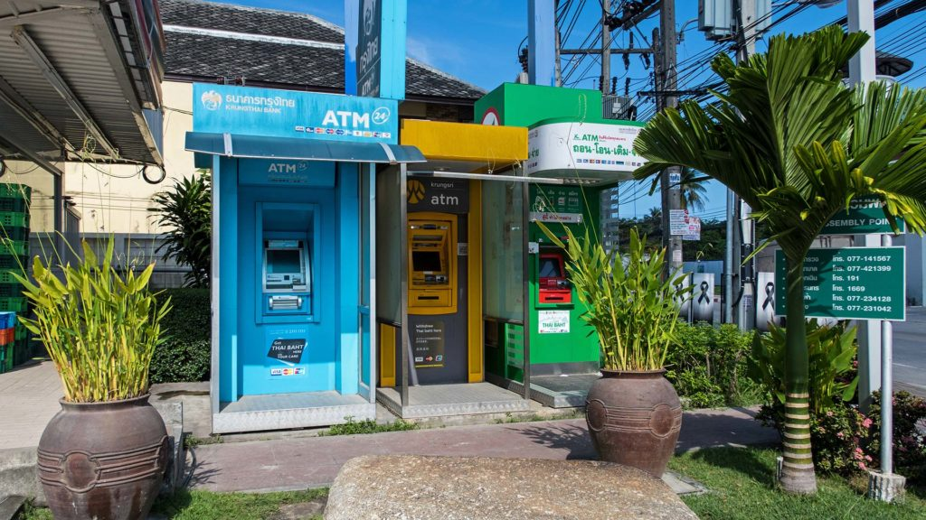 ATMs at a gas station in Koh Samui