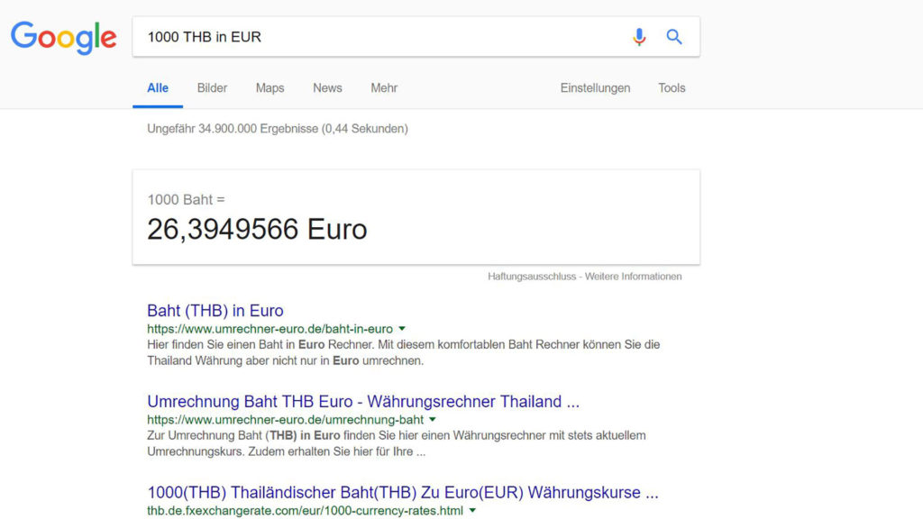 Currency converter from Google