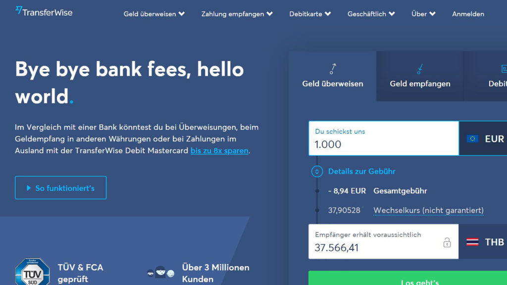 TransferWise, for sending money to a foreign country