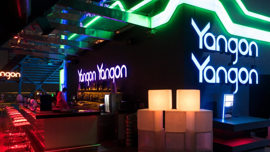 The illuminated bar of the Yangon Yangon Skybar, taken with the Canon G9 X
