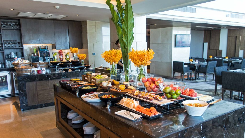 Breakfast buffet on the executive floor of the Amari Watergate hotel